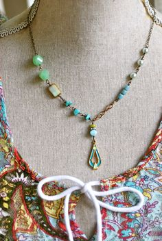 Kate. bohemian beaded charm necklace. Tiedumemories