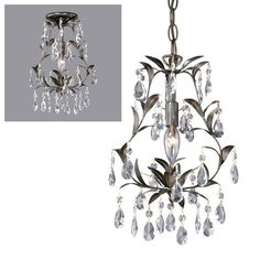 Laura Ashley mini chandelier $129.60 on sale.  free shipping.  Currently, 20 in stock.  Possibility for powder room