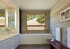 Crook | Cup | Bow | Twist by Schwartz and Architecture (27) Big Bathrooms, Beautiful Bathrooms, Luxury Bathrooms, Prefab Homes, Kitchen And Bath, Mountain Homes, Concrete Walls, Wood Walls, Architecture Wallpaper