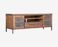 Dania - Update your home entertainment area with the Insigna media stand. The mix of rustic and industrial elements offer high style as well as ample storage space with open shelves, one felt-lined drawer and two wire-front cabinets.