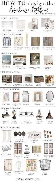 How to design a farmhouse bathroom. Finding the best ideas for wall treatment, flooring, tub, vanity, mirror, lighting and decor.  Via Lynzy & Co.