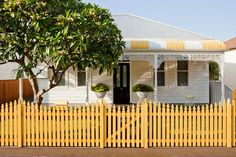 charming yellow picket fence