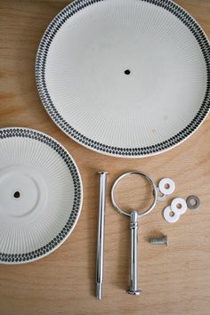 cake stand made with a drill + craft pieces