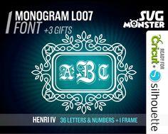 HENRI IV MONOGRAM Font svg Cut Files Electronic Vinyl Cutter Cricut Design Space Silhouette 3 three letters Scalloped embroidery • 085 de la boutique SVGmonster sur Etsy