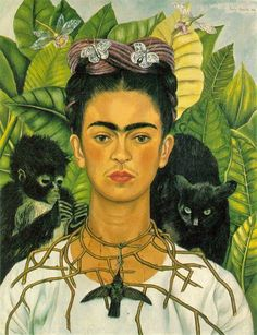 1940 Frida Kahlo (Mexican artist, 1907-1954)  Self-portrait with Thorn Necklace and Hummingbird,