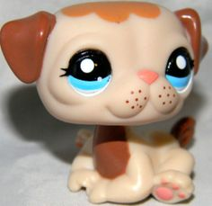 Littlest Pet Shop PUG #1753 PUPPY DOG MOCHA CREAM FRECKLE Blue Eyes LPS