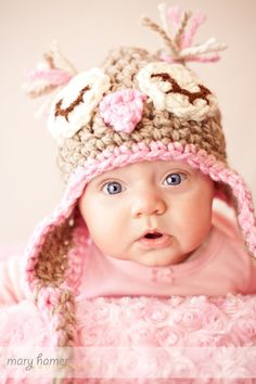 Baby Owl Owlette Hat in beige and pink crochet by thebluemagnolia, $20.00