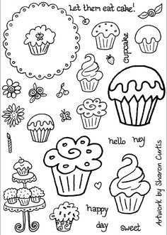 Here are my new range of stamps - Cupcake Doodles. Since I've been creating so many cupcake cards recently, and had in mind the sort of stamps I wanted but couldn't find, I decided to create my own. Schrift Tattoos, Doodle Lettering, Doodle Art Letters, Doodles Zentangles, Chalkboard Art, Doodle Drawings, Stencil, Coloring Pages, Adult Coloring