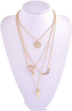 2015 Cheap Jewelry New Initial lariat Punk Gold Multi Layer Necklace Sexy Circular Arrow Angel Wing Pendant Necklace N1899-in Chain Necklaces from Jewelry on Aliexpress.com | Alibaba Group