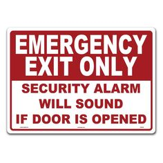 14 in. x 10 in. Emergency Exit Sign Printed on More Durable Thicker Longer Lasting Styrene Plastic, Red & White