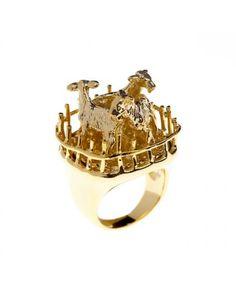 Gold Farmyard Animals Ring