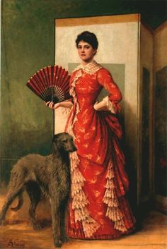 The Lady of the Greyhound, Alfred Stevens Portrait art showing a woman and her dog in a classic modeling pose. Traditional figurative painting from the late century. Alfred Stevens, Arte Fashion, Victorian Paintings, Classic Paintings, Woman Painting, Dog Art, Chinoiserie, Female Art, Lady In Red