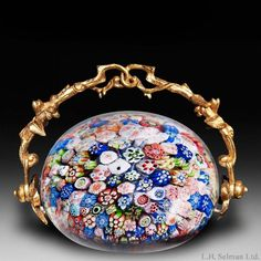 """Antique Baccarat """"B 1847"""" close packed millefiori with gold handle paperweight"""