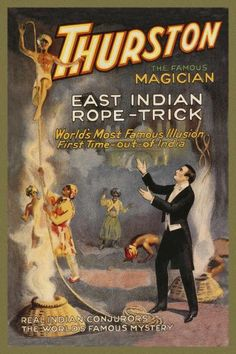 Strobridge - Magicians: East Indian Rope Trick: Thurston the Famous Magician - art prints and posters