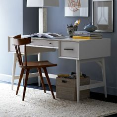 Mid-Century Desk in White from west elm