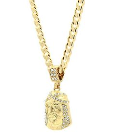 "Mens Gold Tone Cz Jesus Face Pendant Hip-hop 6mm 24"" Cuban Chain Necklace *** Check this awesome product by going to the link at the image."