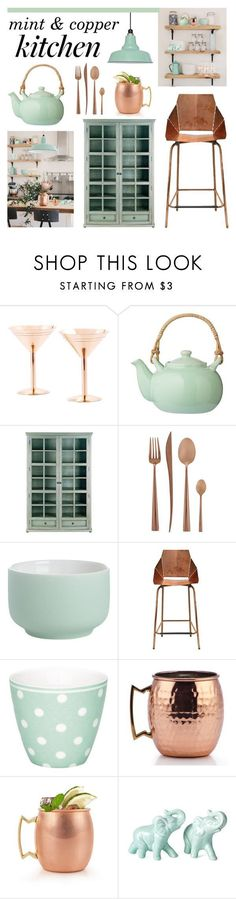 """mint & copper kitchen"" by lgb321 ❤ liked on Polyvore featuring interior, interiors, interior design, home, home decor, interior decorating, Old Dutch, Bloomingville, Currey & Company and Cutipol"