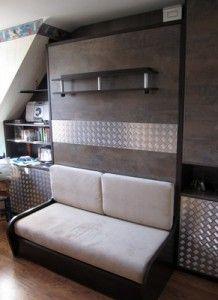 un exemple très bien réussi de lit escamotable pour un studio d'étudiant. Projet réalisé dans la région nantaise. #nantes
