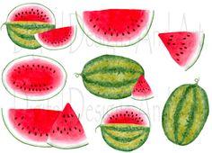 Wassermelone-Clipart Aquarell Melone von DigitalDesignsAndArt