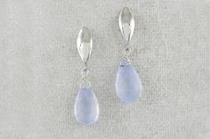 Chalcedony Silver Leaf Shape Drop Earrings by Sweet Pea Pearl Earrings, Drop Earrings, Leaf Shapes, Pastels, Pearls, Sweet, Silver, Jewelry, Design