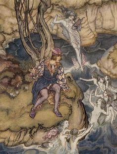 "Arthur Rackham's Stunning 1926 Illustrations for ""The Tempest"" – Brain Pickings Arthur Rackham, Dragons, Alice In Wonderland Illustrations, Ralph Steadman, Aubrey Beardsley, Water Nymphs, Fairytale Art, William Shakespeare, Shakespeare Plays"