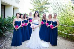 Nautical bridal party with Pink and Magenta Accents ~ Ballad's Photography