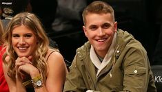Eugenie Bouchard and John Goehrke on their first date at a Super Bowl game.