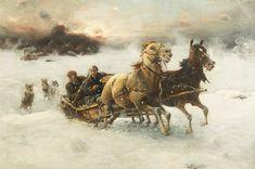 ALFRED VON WIERUSZ-KOWALSKI [JOSEF KONARSKI] (POLISH 1849-1915)  The Chase