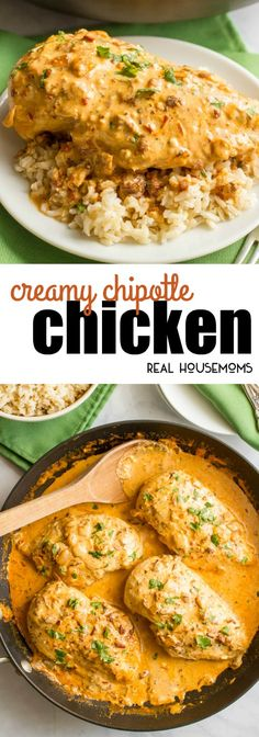Creamy chipotle chicken is a simple but super flavorful 30-minute dinner with a delicious smoky chipotle cream sauce - that's secretly healthy! via @realhousemoms