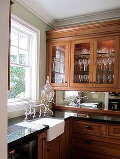 kitchen: wood, countertop, glass, tap, sink, paint color