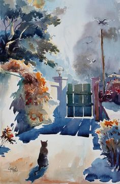 Watercolor Paintings For Beginners, Watercolor Landscape Paintings, Watercolor Sketch, Watercolor Portraits, Watercolor Illustration, Landscape Art, Watercolor Flowers, Watercolor Architecture, Painting Inspiration