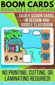 Help your students practice kindergarten skills in a fun, interactive way with these Boom cards! These digital task cards are great for learning at home or at school. Use them as reinforcement during distance learning or at a technology center in the classroom.   These Boom Cards are interactive and self-checking and can be easily assigned in Seesaw and Google Classroom. No printing, cutting, or laminating required!