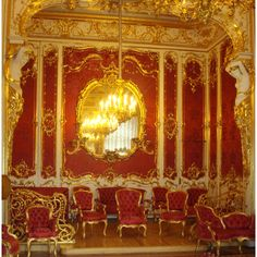 Crimson boudoir, designed in the mid 19th century commissioned by Russian Empress Catherine.