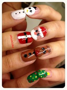 Video: Santa, Rudolph and Frosty Nails! | chichicho~ nail art addicts Santa Nails, Xmas Nails, Christmas Nails, Seasonal Nails, Nail Repair, Christmas Nail Art Designs, Awesome, Fashion Trends, Blog