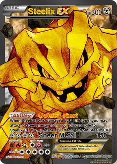 Steelix EX full art by HyperbolicKnight on DeviantArt - Pokemon Pokemon Craft, Mega Pokemon, Pokemon Party, Pokemon Games, Pokemon Fan, Cute Pokemon, Pokemon Fusion, Evoluções Eevee, Fake Pokemon Cards