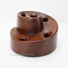 "Beautiful wood candle holder! Amazing woodturning art object. Heavy, quality design, all one piece. Measures Appx: 7"" wide, 5"" tall. 