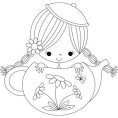 Clemetine the Teapot Girl by Stamping Bella Colouring Pages, Adult Coloring Pages, Coloring Sheets, Coloring Books, Embroidery Patterns, Hand Embroidery, Quilling Patterns, Digi Stamps, Easy Drawings