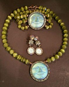 Kirks Folly SET Seaview moon w/green crystal beads necklace, bracelet & earrings #KirksFolly