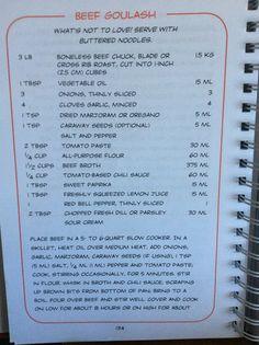 Beef goulash pasta. Best of bridge slow cooker pg134