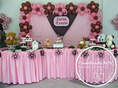 Teddy bear brown and pink party