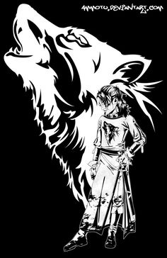 Arya Stark - Game of Thrones - Ammotu.deviantart.com, I love this and the wolf silhouette is gorgeous