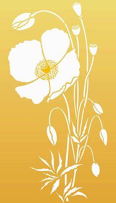 Large Wild Poppy Stencil