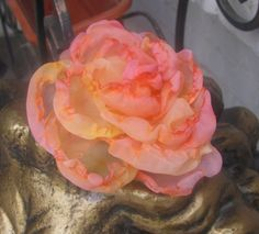 Pink Rose Fabric Flower Hair Accessories Hair Yellow by philadella, $24.00