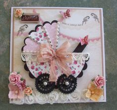 Baby Shower card, Baby Card, Shabby Chic Card