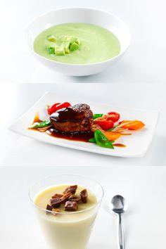 Kolmen ruokalajin kokonaisuus (kylmä avokadokeitto, naudan sisäfileepihvi, punaviinikastiketta ja rapeita kasviksia sekä valkosuklaapannacotta) - hinta kahdelle 24,99 €. #komero