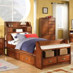 Acme Furniture - Brandon Full Bookcase Trundle Storage Bed in Oak - 11005AF