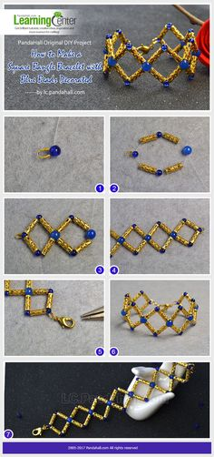 Chic designed square bangle bracelet made with golden filigree tube beads and decorated with blue beads, you can easily finish it within few minutes.