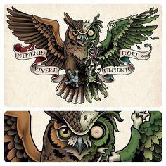 This is a half owl half zombie/undead owl chest tattoo I designed for Ticen Monson. #owltattoo #owl #tattoo #chesttattoo #dayofthedead #zombie #zombieanimal #samphillips #samphillipsillustration #mementomori #momentovivere tattooart