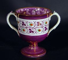 English Pottery Lustre Loving Cup,   Circa 1820-30-Loving cups such as this are rare