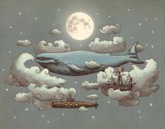 whales in the sky.  Art by Terry Fan